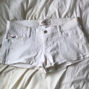 White Hollister Low Rise Denim Shorts